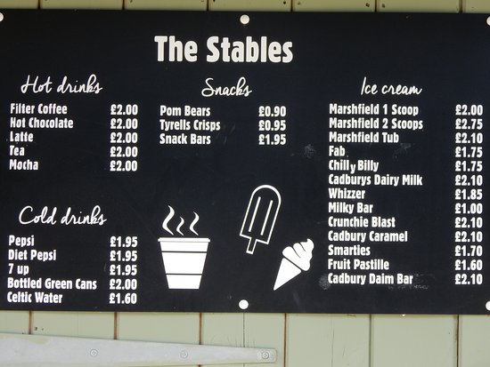 Guiting Power, UK: The Stables snack bar prices.