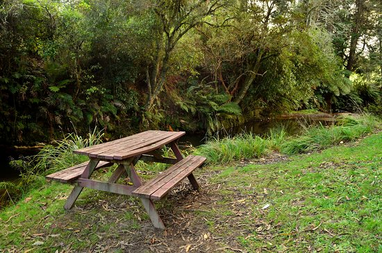 Paradise Valley Lodge: picnic table by the stream