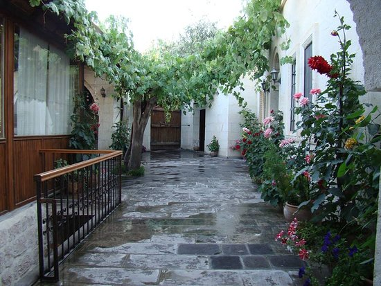 Aravan Evi Boutique Hotel: terrace and flowers
