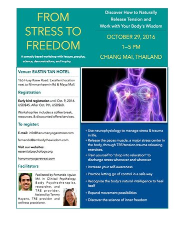 Saratoga, CA: TRE tension-trauma releasing workshop for stress and healing, Oct. 2016 Chiang Mai Eastin Tan Ho