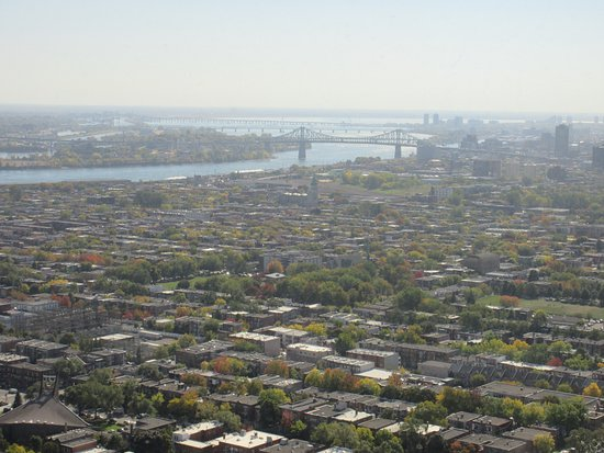 View from the top of the Montreal Tower - it was a clear, beautiful day; glass is dirty or fogge