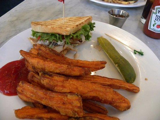 Turkey Club with sweet potato fries (Sorry already ate half)
