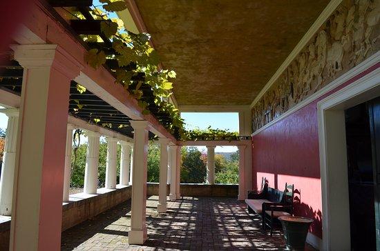 Cornish, NH: Half covered, half vine covered pergola studio porch