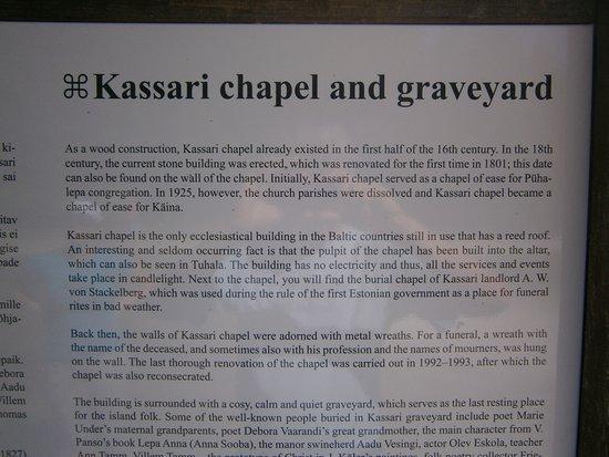 Kaina, Estonia: Kapellets historia med engelsk text.