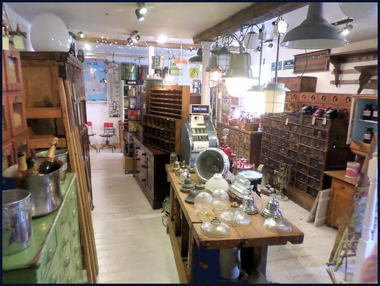 Montgomery, UK: Shop interior. Industrial antique furniture and lighting.