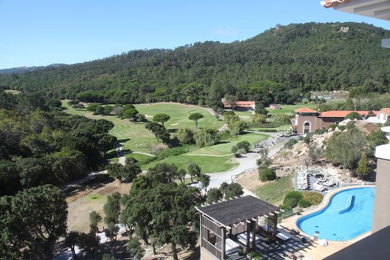 Linho, Portugal: View over the golf course showing one of the pools