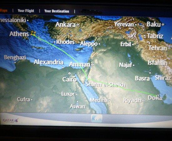 從杜哈到雅典的飛航圖 Picture of Qatar Airways World TripAdvisor