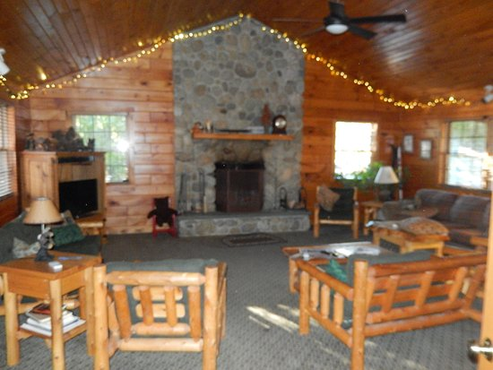 The Glen Lodge: the gathering room with fire place