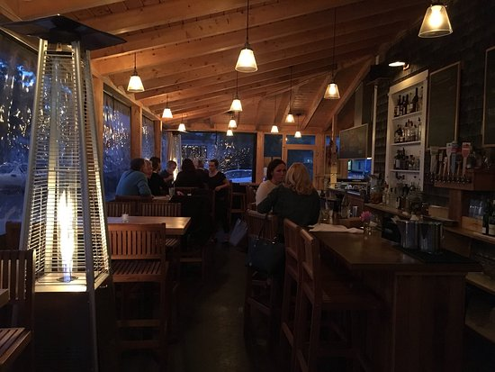 Havana : Great menu for the outside area.  Warm, cozy. Tasty sausage. Great pie.  Their lobster roll.