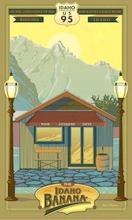 Riggins, ID: Idaho Banana Co. poster designed by Ward Hooper.