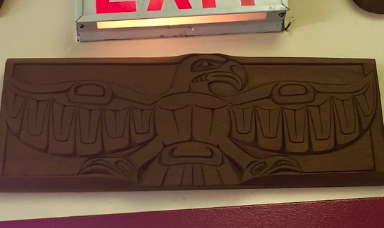 First Nations Carving, art adorning the walls, Bayside Grill,  Fir Street, Alert Bay, British Co