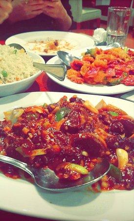 china town beef sea food rice with veggies