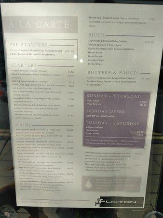 Urmston, UK: A la carte menu