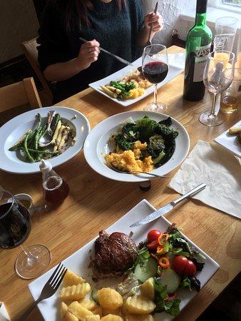 Fillet steak, and duck - lovely vegetables.