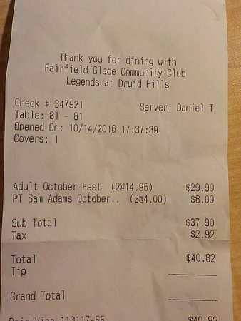 Fairfield Glade, Τενεσί: Our bill for Oktoberfest @ Legends 2016