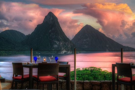 Table for 2 at the Jade Mountain Club