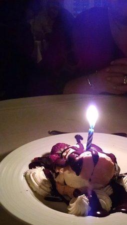 Dessert pastry with ice cream