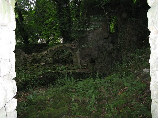 Matlock, UK: Ruin of building in the Lumsdale Valley
