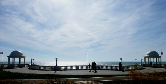 Bexhill-on-Sea, UK: View from Pavilion. Symmetry, even the flags!