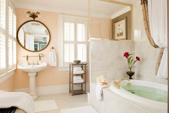 The White Doe Inn Bed & Breakfast: Virginia Dare Room Bath. Includes Whirlpool for Two and Rain Shower.