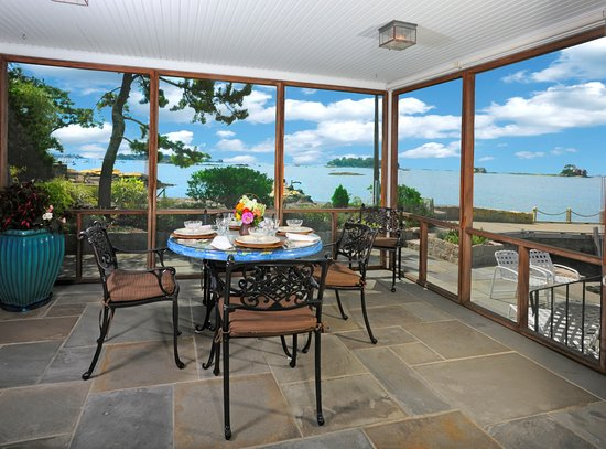 Branford, CT: Porch with View to Stony Creek Harbor