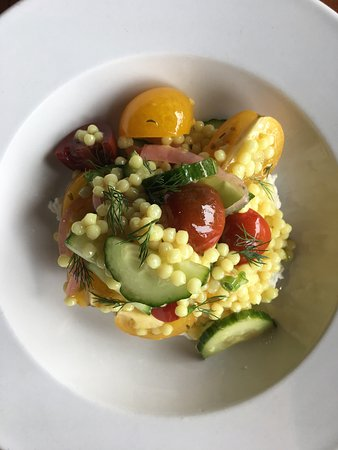 13 Gypsies: Cucumber, tomato salad with couscous, whipped feta and dill. Roasted mushrooms with arugula and