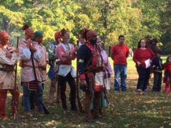 New Philadelphia, OH: Native Americans approach the Colonials
