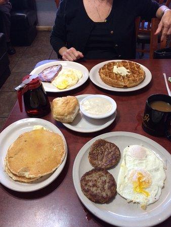 Guthrie, OK: 1. Waffle with 2 eggs (your choice) and meat (yr choice). 2. Choose four (various items).
