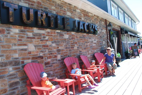 Turtle Jacks: Muskoka chairs to wait outside
