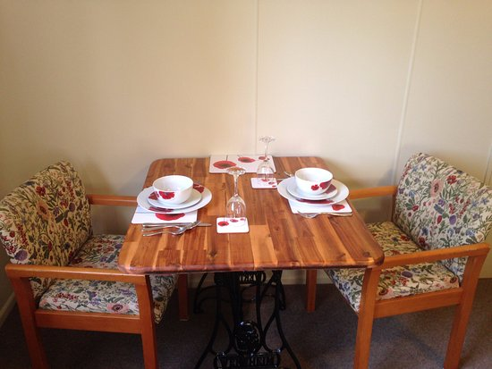 Taranaki Region, New Zealand: Table & chairs with all the place settings