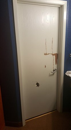 "Albany, OR: See the hole/crack on the bathroom door? Remind me of the horror movie ""Shining"""