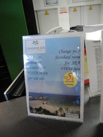 Esmeralda Beach Hotel: Анонс о возможности дополнить номер видом на море