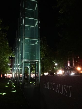 New England Holocaust Memorial: Each tower has the concentration camp ID numbers etched in the glass from bottom to top. Stagger