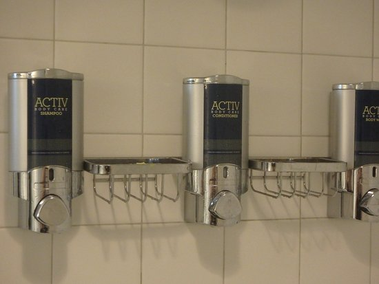 Meriden, CT : Very green! Refillable shampoo, conditioner, and body wash dispensers.