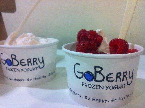 Northampton, MA: Guava flavored frozen yogurt with raspberries.