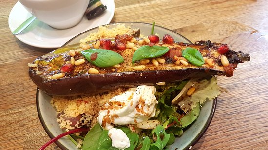 Picnic Foods: Baked aubergine and pomegranate seed lunch box