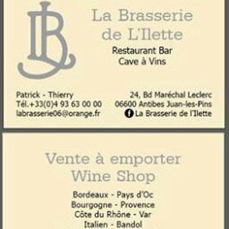 La Brasserie De LIlette Carte Visite Ventes Bons Vins
