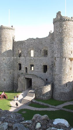 Harlech, UK: The shell of the gatehouse viewed from inside the castle green