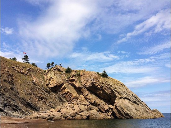 View from Meat Cove Beach, at the base of a stream that flows right into the ocean.