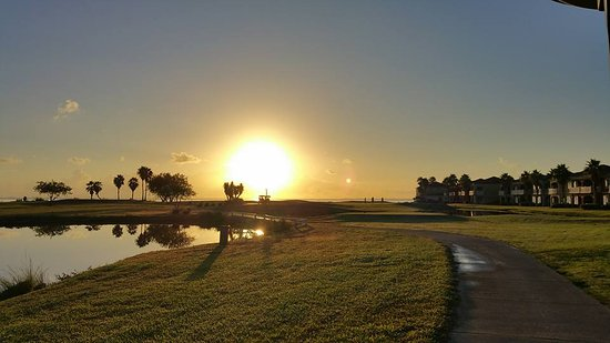 Laguna Vista, TX: View from the tee box on #3 as the sun came up over the bay.