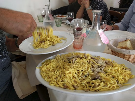 Castiglione di Garfagnana, إيطاليا: Tagliatelle al fungo crudo...