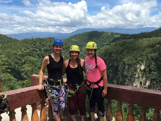 Gracias, Honduras: At the first line of the zip-line.