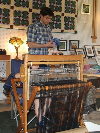 Lost River, WV: Lonnie working on his Saori loom.