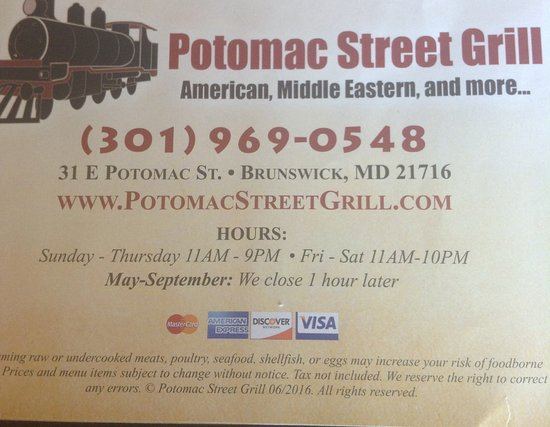 Potomac Street Grill : Hours