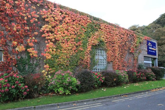 Hotel Westport: side view leading to lovely river walk-autumn