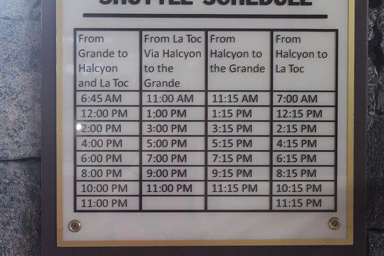 Sandals Halcyon Beach Resort: Shuttle bus schedule