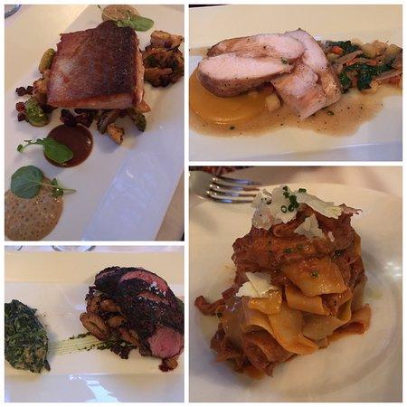 The Blue Rose Inn & Restaurant: Entrees - Scottish Salmon, Chicken Roulade, Teres Major Steak, Roasted Pork Pappardelle