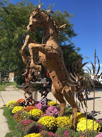 Amana, IA: Metal sculpture at Good Quilts garden center