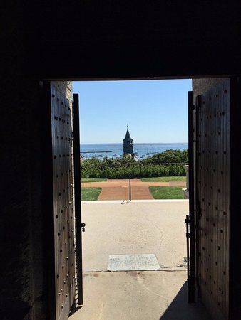 Pilgrim Monument & Provincetown Museum: view from the top of the hill but bottom of the monument