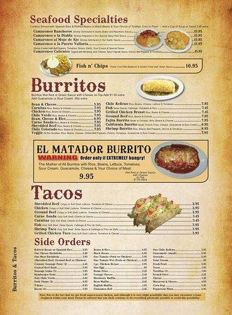 Murrieta, CA: El Matador Burrito Menu